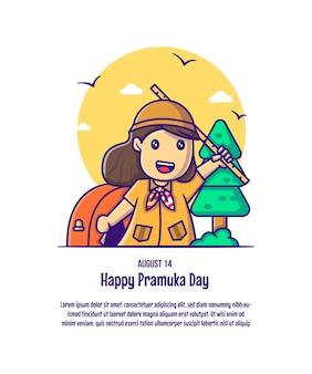 Jolie fille pour pramuka day cartoon illustrations vectorielles. concept d'icône jour pramuka isolé vecteur premium