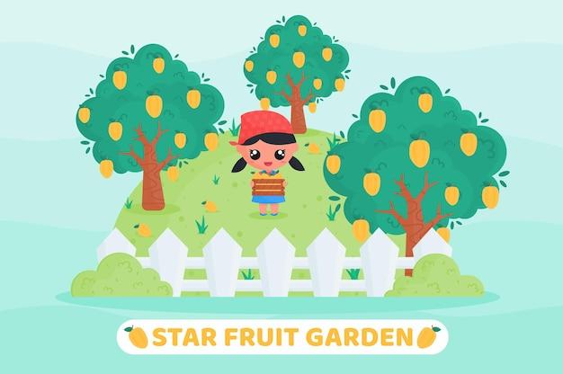 Jolie fille récoltant des fruits étoilés dans un jardin fruitier avec une boîte à fruits pleine de fruits étoilés