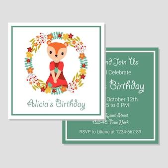 Jolie fille de renard sur couronne florale adapté pour carte d'anniversaire