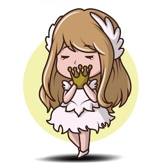 Jolie fille en robe de danse., dessin animé de conte de fées.