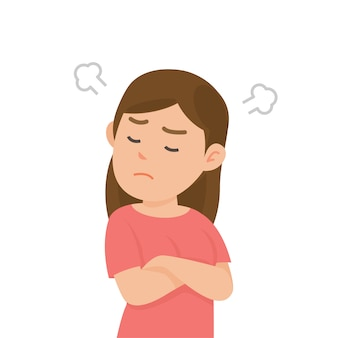 Jolie fille s'énerve en colère se battre avec le souffle de l'expression des oreilles, illustration vectorielle.