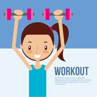 Jolie fille s'entraînant avec entraînement de fitness haltère