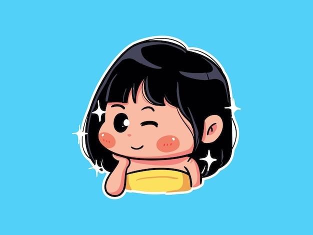 Jolie fille se détendre manger des cookies et lire un livre manga illustration