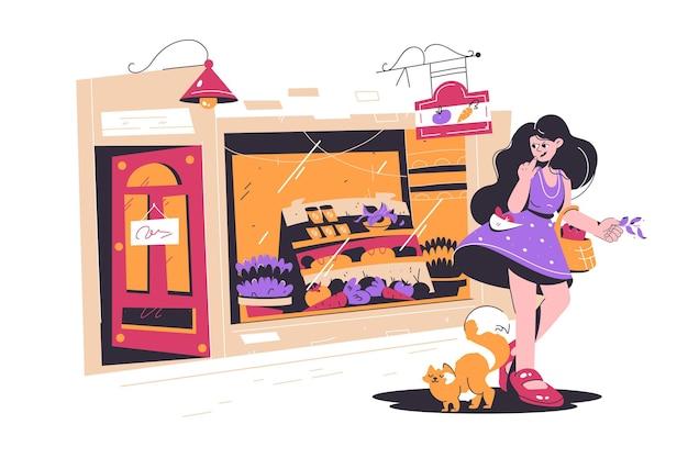 Jolie fille shopping dans une petite rue shop vector illustration
