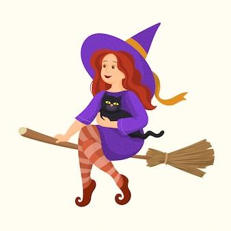 Jolie fille sorcière avec un chaton volant sur un balai