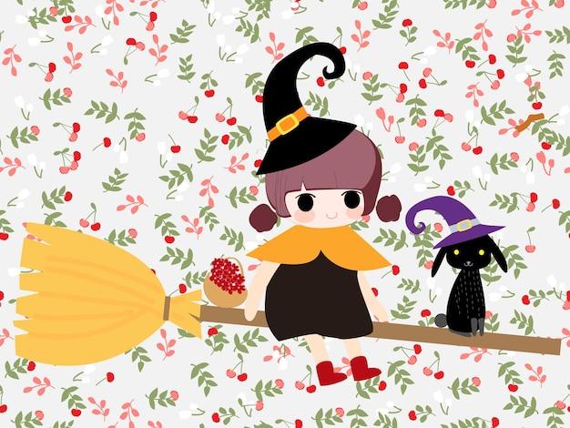 Jolie fille de sorcière en dessin animé de modèle sans couture de fleur
