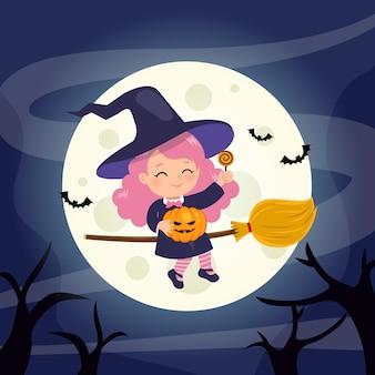 Jolie fille de sorcière volant avec un manche à balai illustration d'halloween heureux conception de dessin animé de vecteur plat