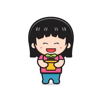 Jolie fille tenant l'icône de dessin animé de plante en pot illustration. concevoir un style cartoon plat isolé