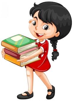 Jolie fille tenant des livres