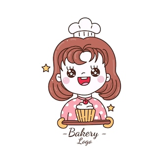 Jolie fille tenant la main de dessin animé de logo de boulangerie de petit gâteau dessiner