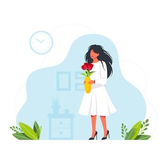 Jolie fille tenant un vase de fleurs. femme avec un beau bouquet de fleurs. happy women's day journée internationale de la femme bouquet de fleurs roses dans un vase happy girl. illustration vectorielle.