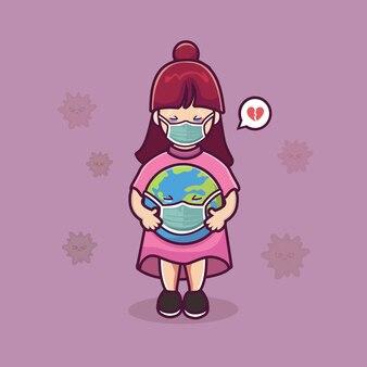 Jolie fille tenir la terre porter illustration de dessin animé de masque médical