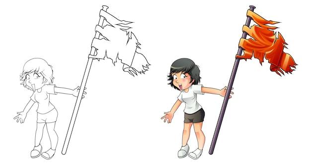Jolie fille tient la page de coloriage de dessin animé de drapeau pour les enfants