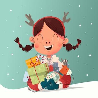 Jolie fille avec des tresses célèbre le réveillon de noël et a reçu beaucoup d'illustrations de cadeaux
