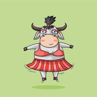 Jolie fille vache. illustration de dessin à la main