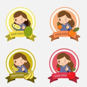 Jolie fille avec une variété de fruits pour la création de logo de magasin