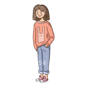 Jolie fille en vêtements décontractés.