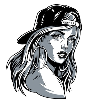 Jolie fille vintage en casquette de baseball
