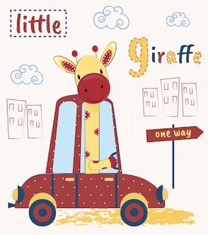 Jolie girafe conduisant une voiture