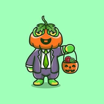 Jolie grenouille citrouille apporte des bonbons d'halloween