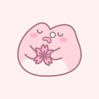 Jolie grenouille endormie tenant une fleur de cerisier