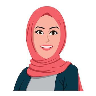 Jolie hijab fille vector design plat illustration dessin animé