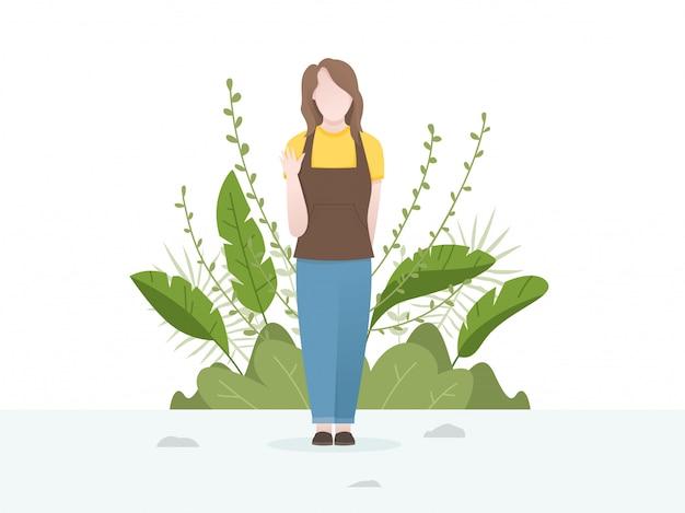 Jolie illustration d'une jeune femme avec fond de fleurs et de plantes