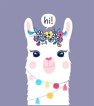 Une jolie illustration de lama avec une bulle de dialogue dit bonjour et des fleurs sur sa tête sur fond violet