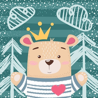 Jolie illustration d'ours en peluche princesse