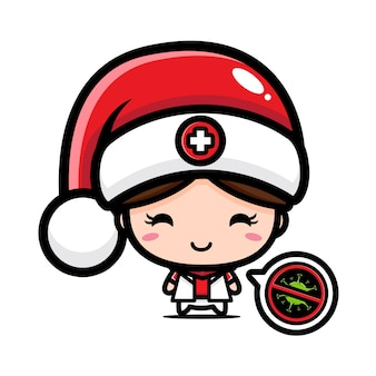 Jolie infirmière portant bonnet de noel