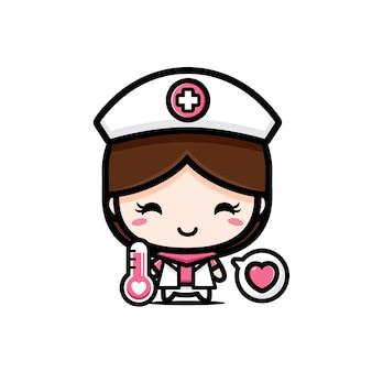Jolie infirmière tenant un thermomètre