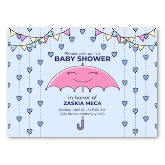 Jolie invitation de fête de naissance de chuva de amor