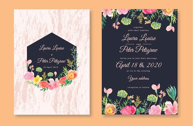 Jolie invitation de mariage avec aquarelle florale botanique