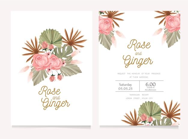 Jolie invitation de mariage avec thème de fleurs séchées