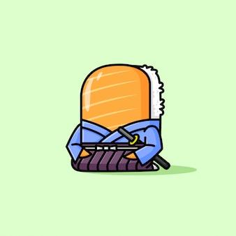 Jolie japonais sushi portant le logo yukata cartoon