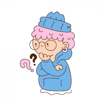 Jolie jeune fille drôle avec point d'interrogation. conception d'icône illustration de personnage de dessin animé isolé sur fond blanc