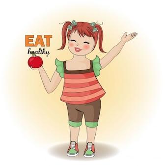 Jolie jeune fille recommande une alimentation saine