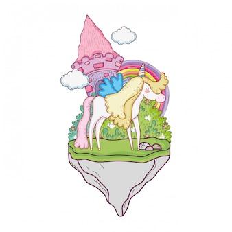 Jolie licorne avec château et arc-en-ciel