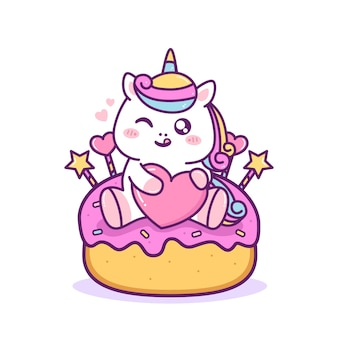 Jolie licorne heureuse s'asseoir dans le gâteau
