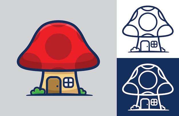 Jolie maison aux champignons. style de dessin animé plat.