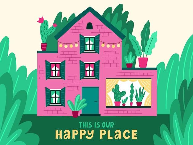 Jolie maison familiale avec phrase de lettrage. chalet d'été avec belle nature et plantes à fleurs. propriété de campagne. dessin animé, coloré