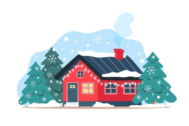 Jolie maison d'hiver avec des guirlandes festives