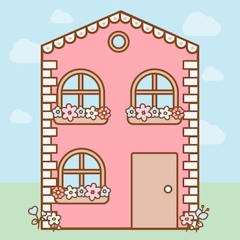 Jolie maison kawaii rose