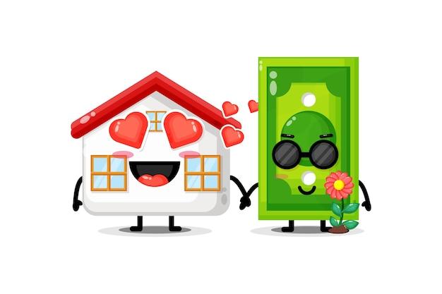 Jolie maison et mascotte de billets de banque tenant la main
