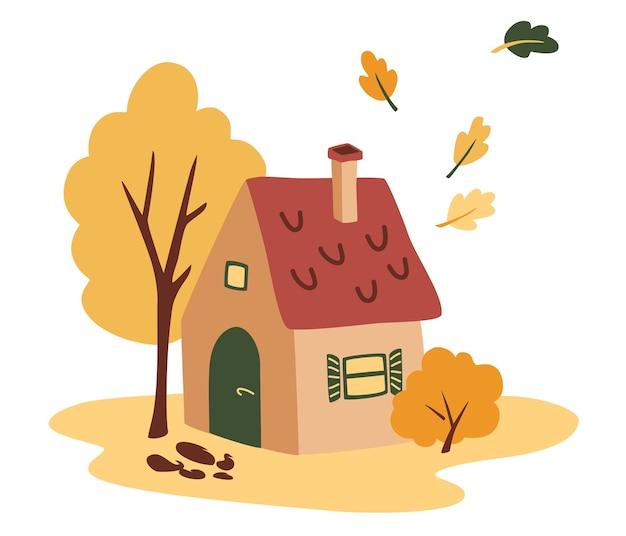 Jolie maison avec un paysage d'automne. ferme confortable en automne.