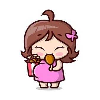 Jolie maman enceinte mange un seau de cuisse de poulet illustration de dessin animé de haute qualité