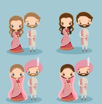 Jolie mariée et le marié indien en robe traditionnelle pour carte d'invitation de mariage