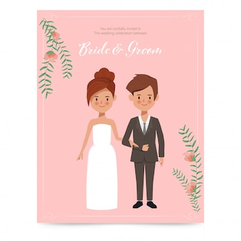 Jolie mariée et le marié pour la carte d'invitation de mariage. personnage dessiné de main couple romantique.