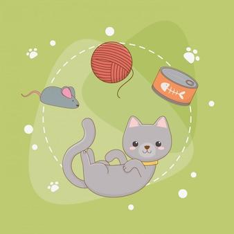 Jolie mascotte de chat avec boîte de thon et rouleau de laine