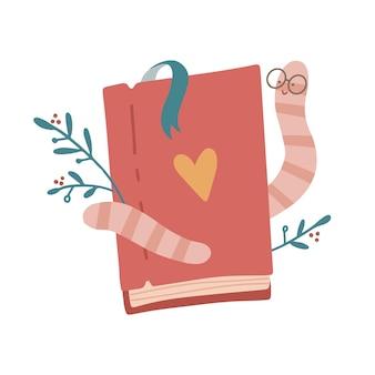 Une jolie mascotte d'éducation de personnage de dessin animé mignon de ver de bibliothèque de chenille portant des lunettes embrassant un...